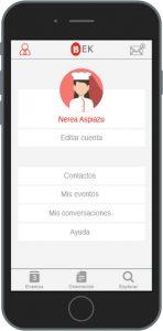 Perfil en la aplicación móvil BEK, ganadora del concurso Welive